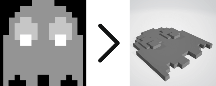 Greyscale Image to 3D render of Pacman